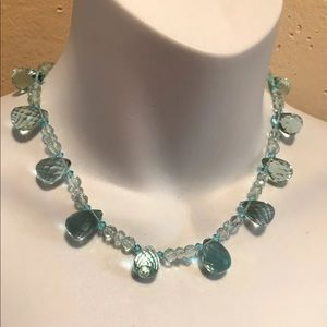 Genuine Aqua a glass Single Strand Necklace